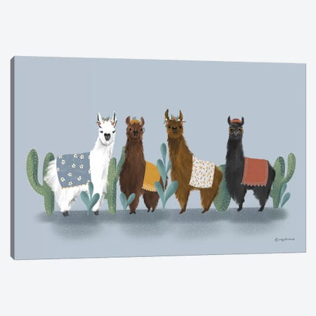 Delightful Alpacas V Canvas Print #BCK28} by Becky Thorns Canvas Wall Art