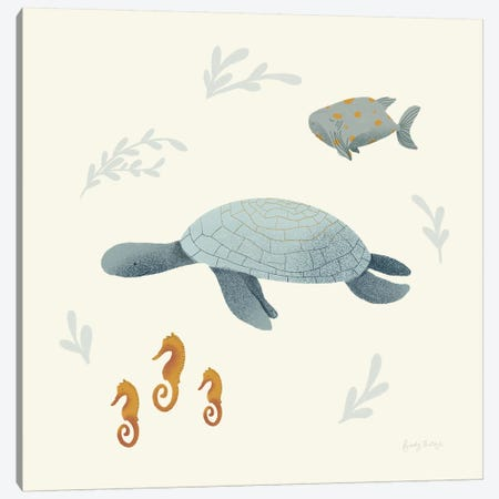 Ocean Life Sea Turtle Canvas Print #BCK31} by Becky Thorns Art Print