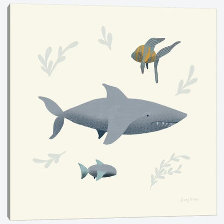 Ocean Life Shark Canvas Print #BCK33} by Becky Thorns Art Print
