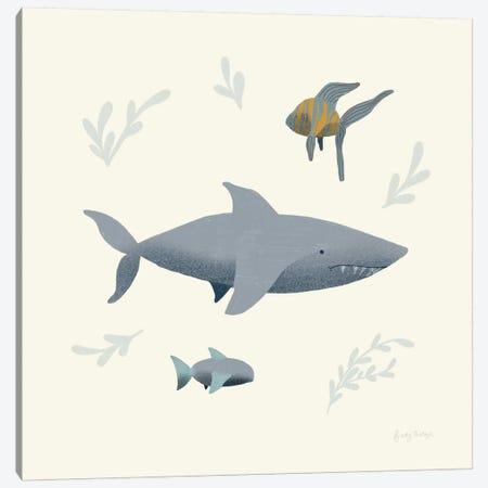 Ocean Life Shark Canvas Print #BCK33} by Becky Thorns Art Print