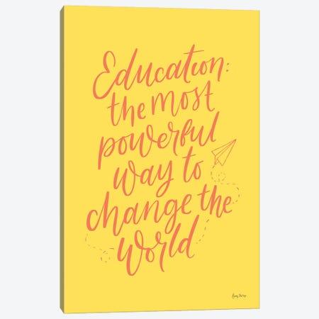 Teachers II Yellow Canvas Print #BCK77} by Becky Thorns Canvas Wall Art