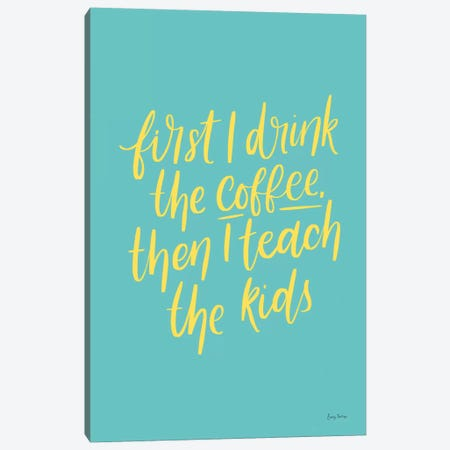 Teachers IV Aqua Canvas Print #BCK81} by Becky Thorns Canvas Wall Art