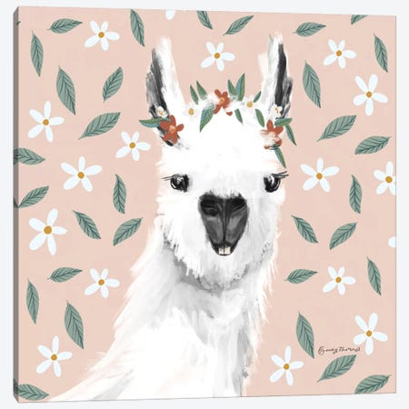 Delightful Alpacas I Floral Crop Canvas Print #BCK82} by Becky Thorns Canvas Wall Art