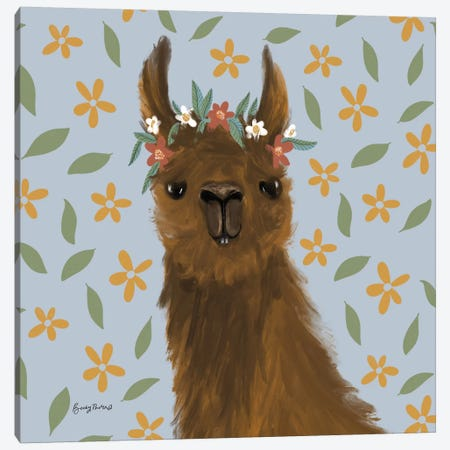 Delightful Alpacas II Floral Crop Canvas Print #BCK83} by Becky Thorns Canvas Wall Art