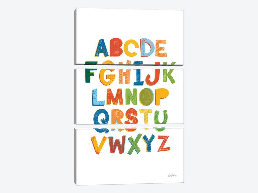 Colorful Alphabet by Becky Thorns 3-piece Canvas Art