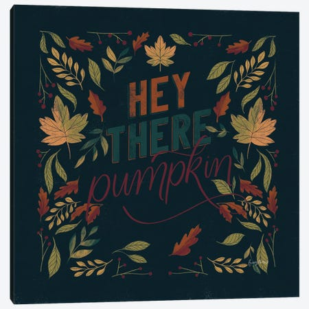 Autumn Sayings I Pumpkin Canvas Print #BCK95} by Becky Thorns Canvas Art