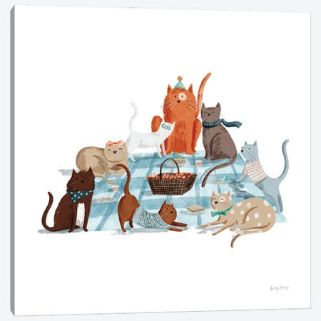 Picnic Pets Cats I Canvas Print #BCK96} by Becky Thorns Canvas Wall Art