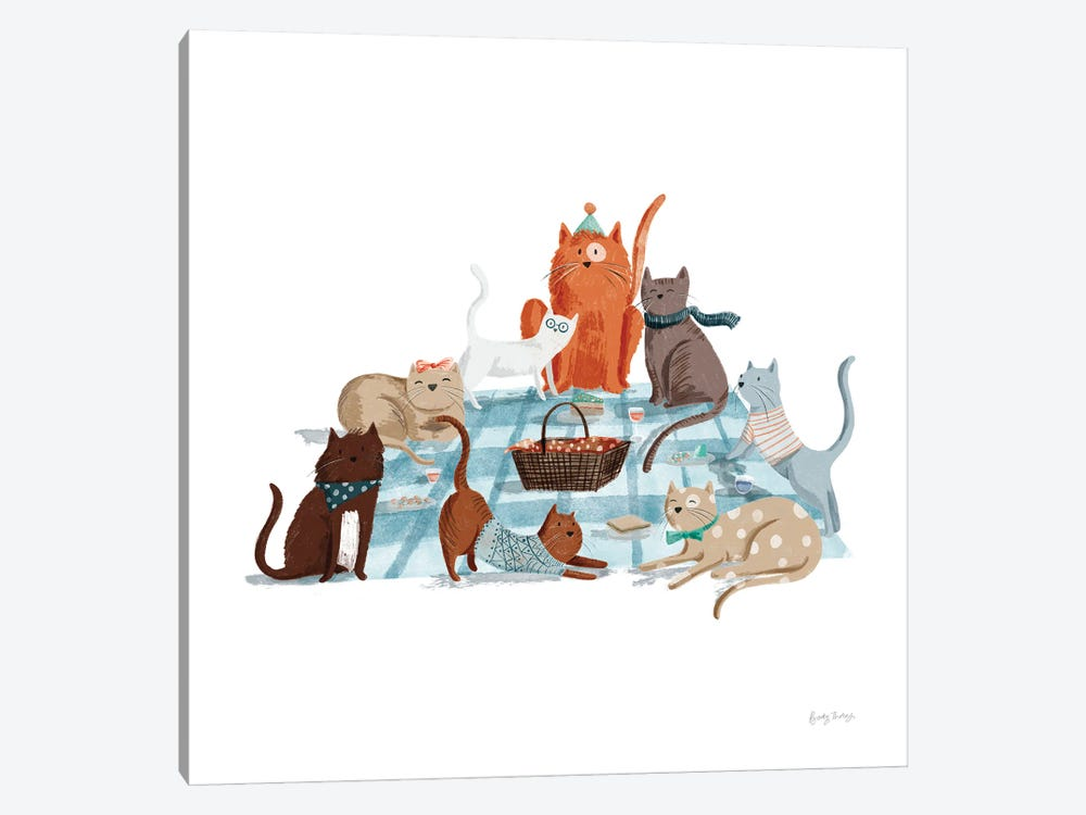 Picnic Pets Cats I by Becky Thorns 1-piece Canvas Artwork