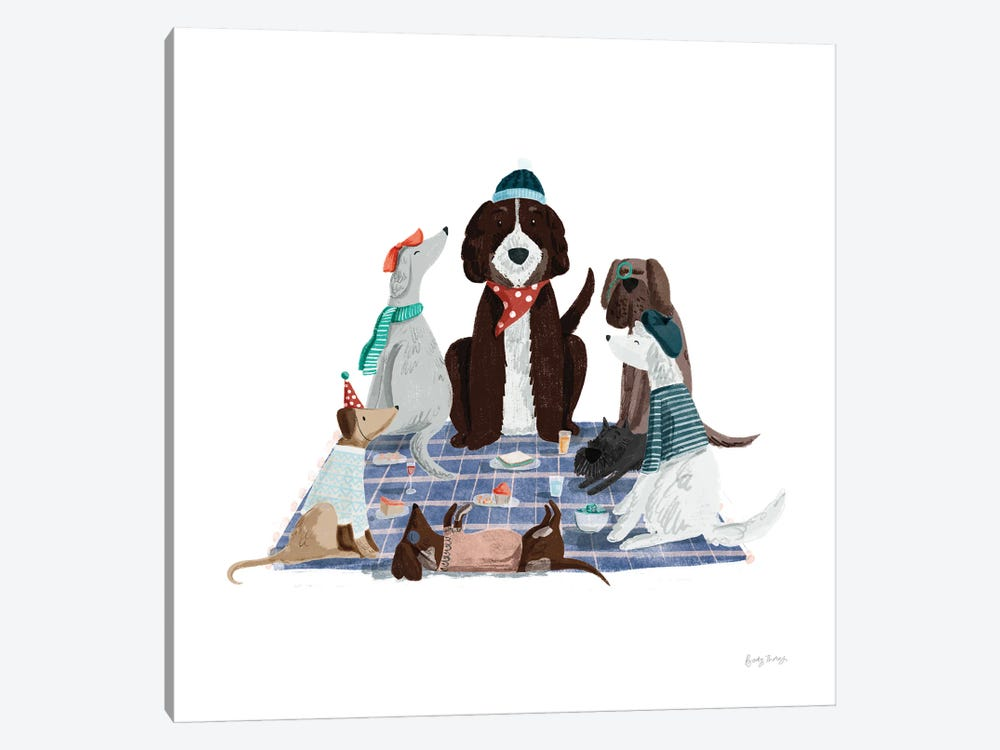 Picnic Pets Dogs I by Becky Thorns 1-piece Canvas Artwork