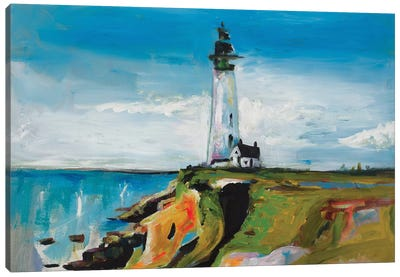 Lighthouse On A Cliff Canvas Art Print