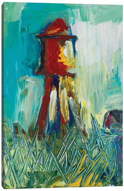Painted Water Tower Canvas Art Print