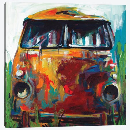 Retro Love Bus Canvas Print #BCM18} by Andy Beauchamp Art Print