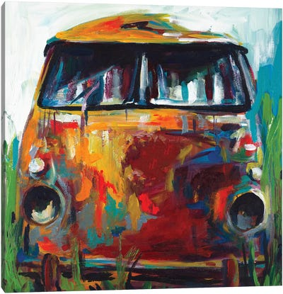 Retro Love Bus Canvas Art Print