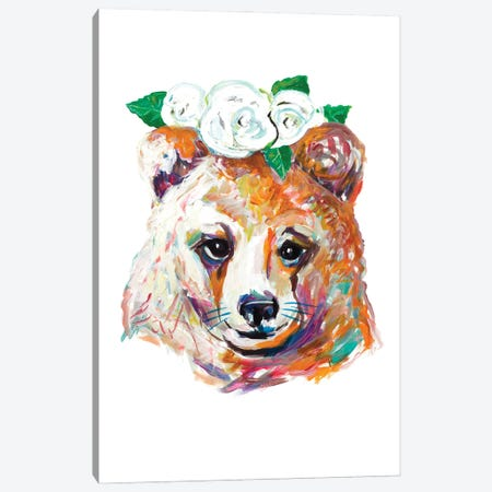 Bear with Flower Crown Canvas Print #BCM24} by Andy Beauchamp Art Print
