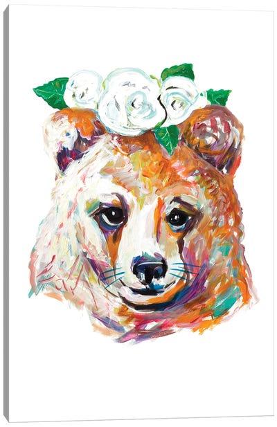 Bear with Flower Crown Canvas Art Print