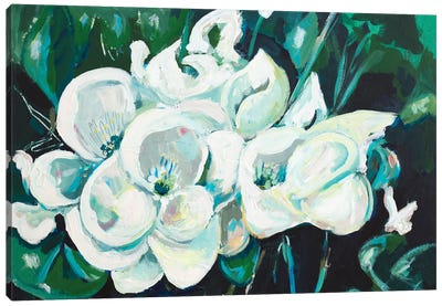 Green into White Orchids Canvas Art Print