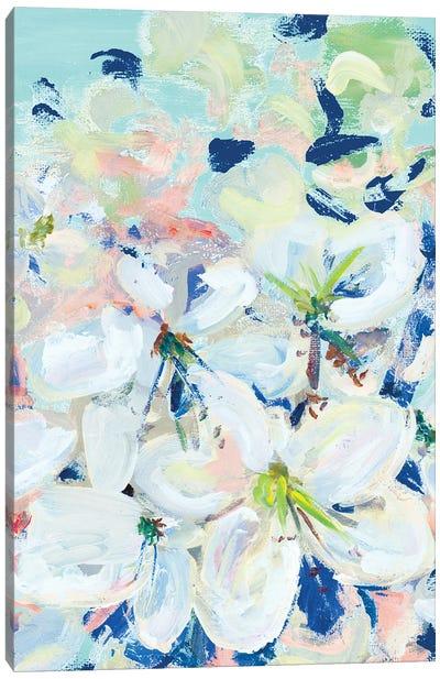 White Orchids On Blue Canvas Art Print