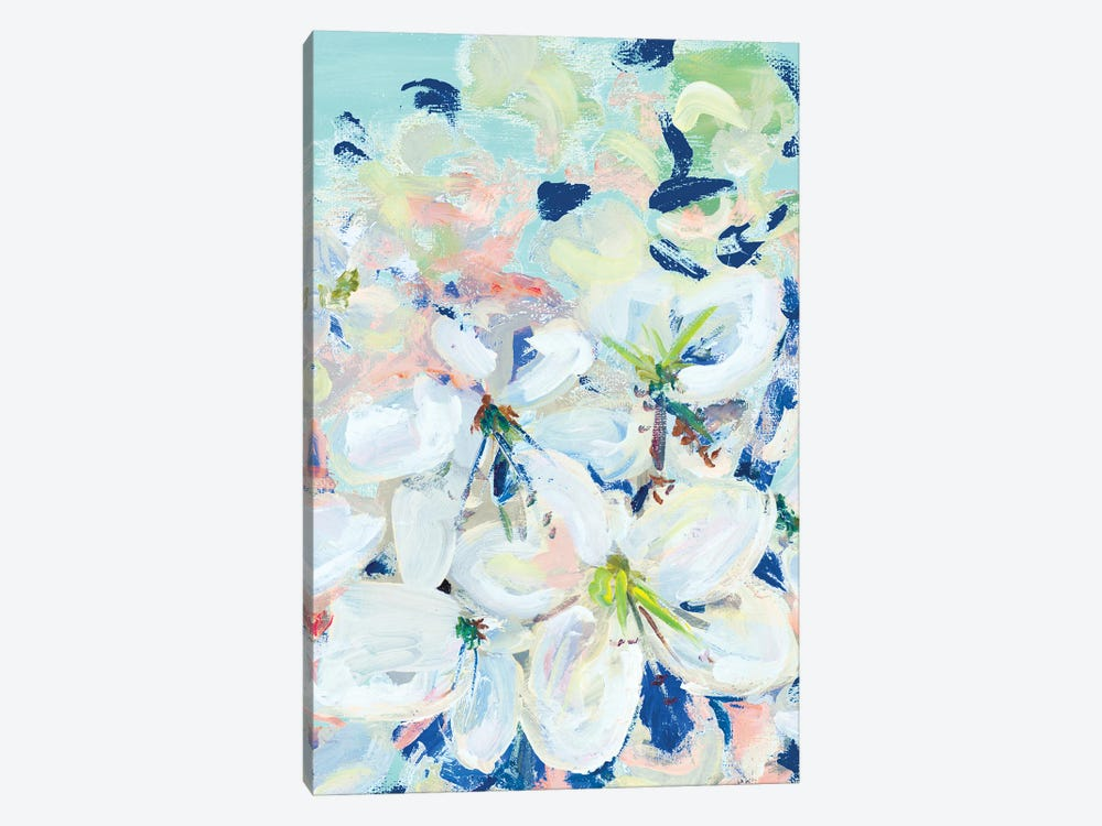 White Orchids On Blue by Andy Beauchamp 1-piece Canvas Art Print