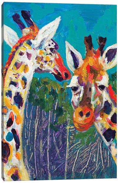 Colorful Giraffes Canvas Art Print