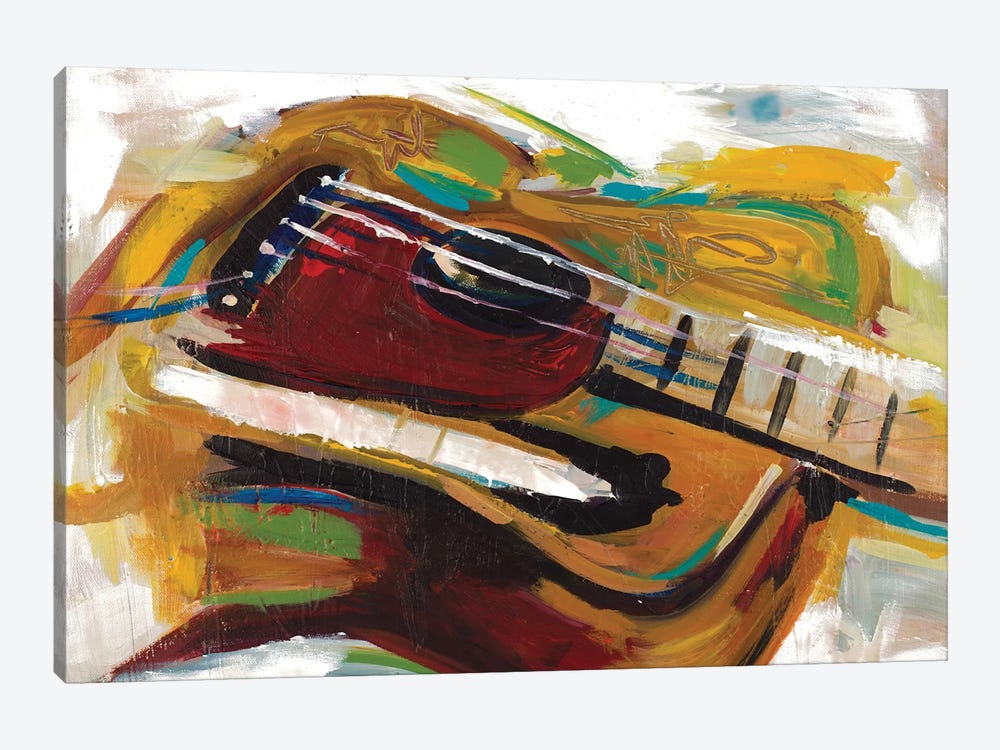 Colorful Guitar by Andy Beauchamp 1-piece Canvas Wall Art