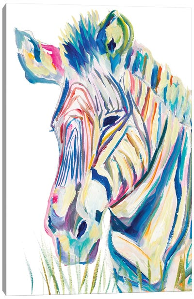 Colorful Zebra Canvas Art Print