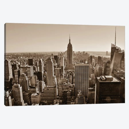 New York Sepia View Canvas Print #BCP23} by Bill Carson Photography Art Print