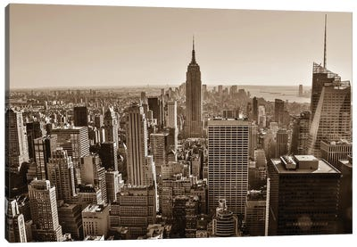 New York Sepia View Canvas Art Print