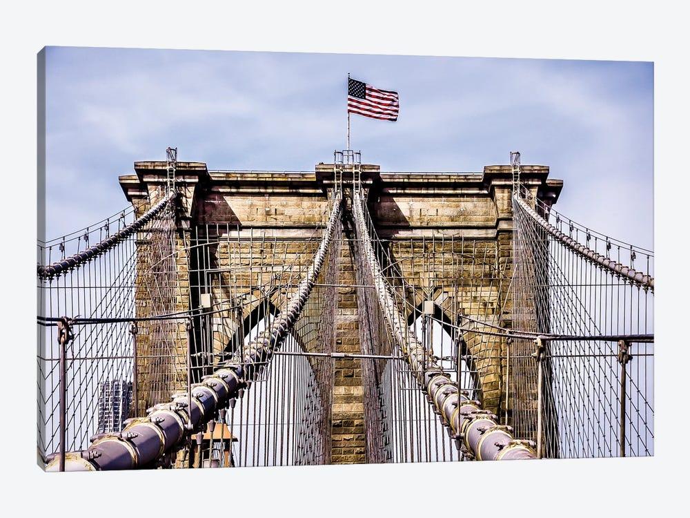 Brooklyn Bridge with Flag by Bill Carson Photography 1-piece Art Print
