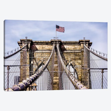Brooklyn Bridge with Flag Canvas Print #BCP8} by Bill Carson Photography Canvas Wall Art