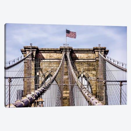 Brooklyn Bridge with Flag Canvas Print #BCP8} by Bill Carson Photography Canvas Wall Art