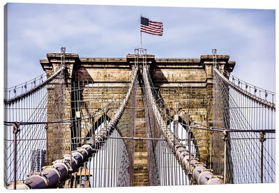 Brooklyn Bridge with Flag Canvas Art Print