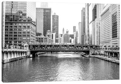 BW Chicago River View Canvas Art Print