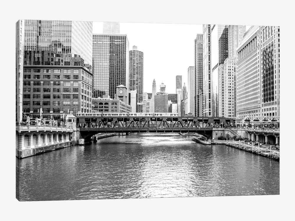 BW Chicago River View by Bill Carson Photography 1-piece Canvas Art