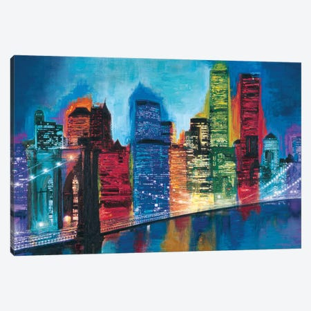 Abstract NYC Skyline at Night Canvas Print #BCR3} by Brian Carter Canvas Art