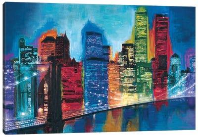 Abstract NYC Skyline at Night Canvas Art Print
