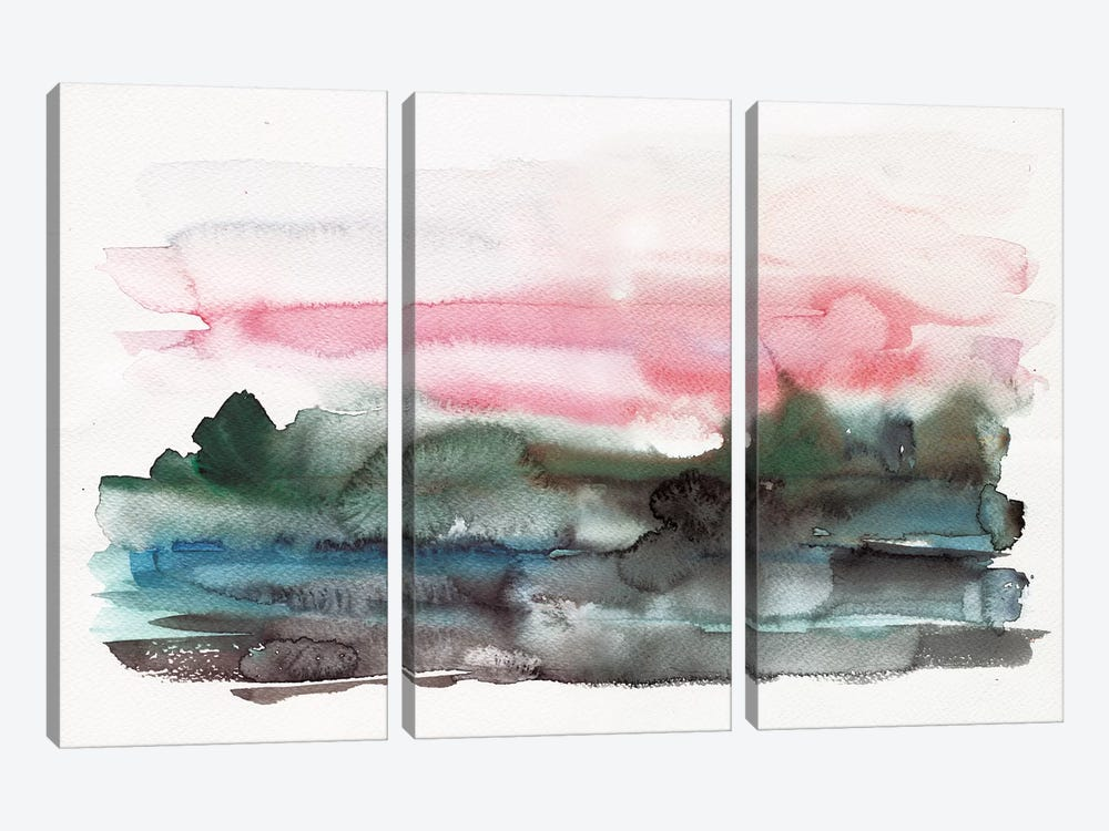 On The Lake by Albina Bratcheva 3-piece Canvas Wall Art