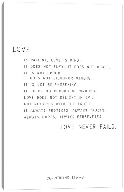 Love is Patient… Canvas Art Print