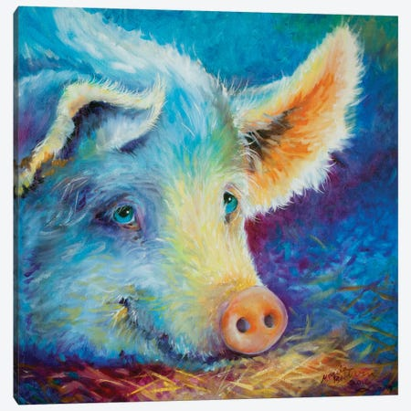 Baby Blues Piggy Canvas Print #BDN12} by Marcia Baldwin Canvas Art Print