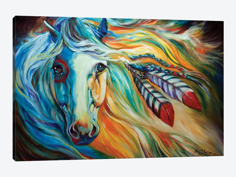 Breaking Dawn Indian War Horse by Marcia Baldwin 1-piece Canvas Print