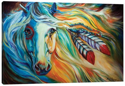 Breaking Dawn Indian War Horse Canvas Art Print