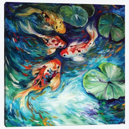 Dancing Colors Koi Canvas Print #BDN25} by Marcia Baldwin Canvas Art Print