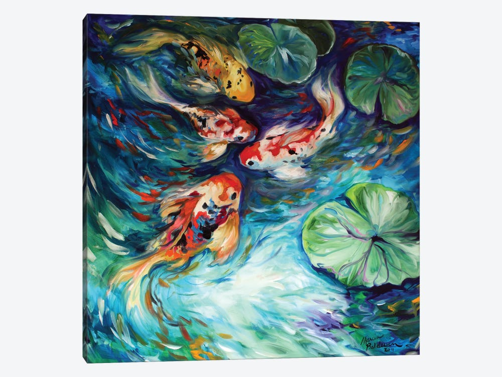 Dancing Colors Koi by Marcia Baldwin 1-piece Canvas Wall Art