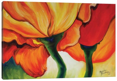 Golden Poppy Abstract Canvas Art Print