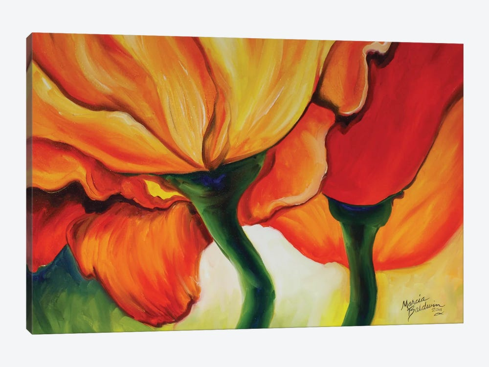 Golden Poppy Abstract by Marcia Baldwin 1-piece Canvas Art Print