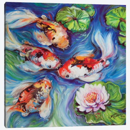 Happiness Koi Dance Canvas Print #BDN35} by Marcia Baldwin Canvas Artwork
