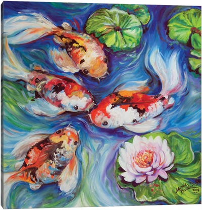 Happiness Koi Dance Canvas Art Print