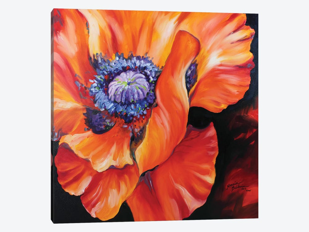 Heart Of A Red Poppy 1-piece Canvas Wall Art