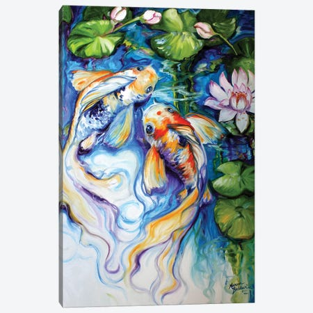 Koi Koi And Lily Canvas Print #BDN37} by Marcia Baldwin Canvas Wall Art