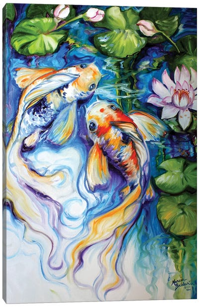 Koi Koi And Lily Canvas Art Print