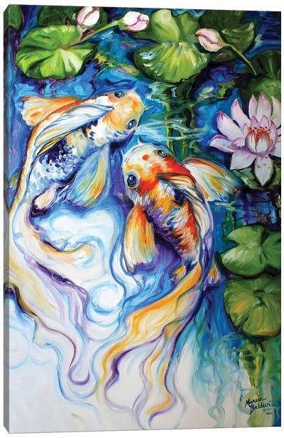Koi Koi And Lily Canvas Art Print